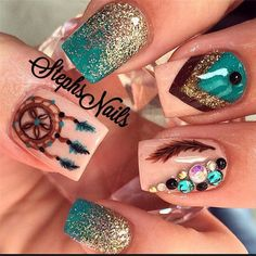 awesome Creative and Pretty Nail Designs Ideas - ihmlrc - Pepino Nail Art Design Get Nails, Fancy Nails, How To Do Nails, Pretty Nails, Hair And Nails, Pretty Nail Designs, Nail Art Designs, Unique Nail Designs, Peacock Nail Designs