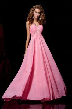 Exquisite Straps Ruffled Bodice A Line Flooe Length Chiffon Prom Dresses
