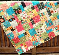 ON SALE Frolic Lap or Crib Quilt 45 x 60 by warmnfuzzies on Etsy