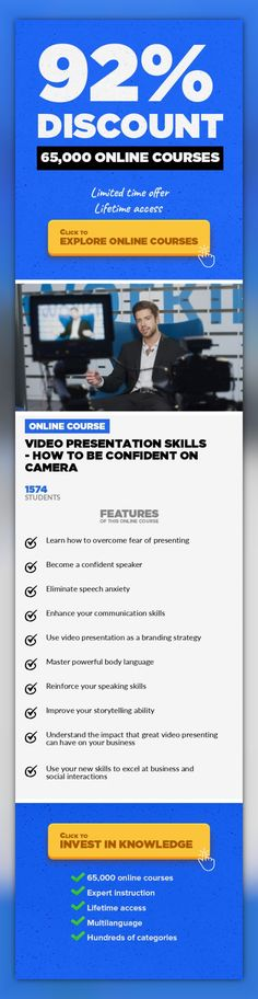 Video Presentation Skills - How To Be Confident on Camera Communications, Business  Overcome fear of presenting. Gain self-confidence. Enhance your communication skills. Develop confident body language. Brand NEWBONUSESin August 2017!There is a big chance that at some point in the futureyou will need to present in front of a camera., especially if you are an entrepreneur.Putting yourself o...