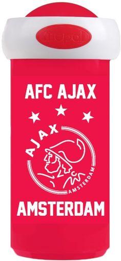 Ben jij Ajax-fan? Dan is deze drinkbeker echt iets voor jou! De broodtrommel heeft een rode kleur met in het wit het logo van Ajax - Schoolbeker ajax wit/rood/wit AFC Mepal
