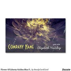 Flower Of Liberty Golden Blue FlowerBusiness Cards Double-Sided Standard Business Cards (Pack Of Elizabeth Hurley, Custom Business Cards, Liberty, Flowers, Blue, Political Freedom, Freedom, Royal Icing Flowers, Flower