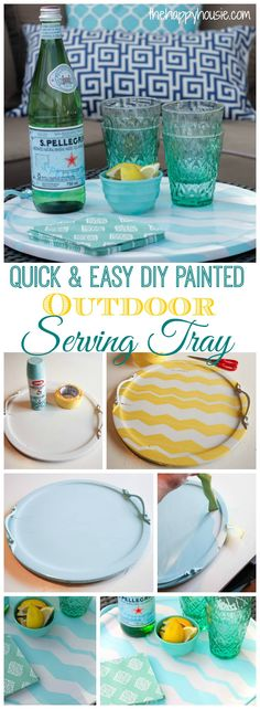 a quick and easy way to add some color to your outdoor decor with this quick and easy DIY painted outdoor Serving Tray at thehappyhousie.com