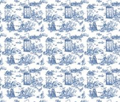We love this Dr Who Toile de Jouy fabric, available on Spoonflower by Debi Birkin.