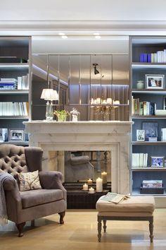 Kącik kominkowy w stylu modern classic - Katarzyna Kraszewska Architektura Wnętrz - HomeSquare