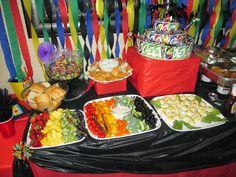 Uno birthday colored food