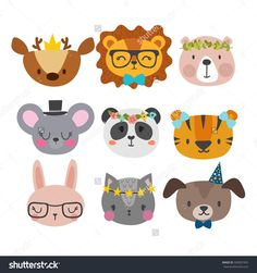 Cute animals with funny accessories. Cat, lion, panda, dog, tiger, deer, bunny, mouse and bear. Cartoon zoo. Set of hand drawn smiling characters. Vector illustration