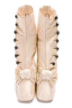 Silk boots, 1870s, Gartrell / A La Providence / Rue St. Honoré / No. 359 Paris. Charleston Museum