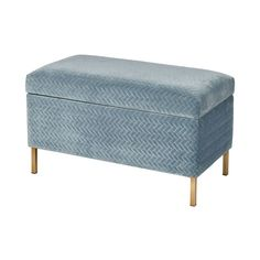 Elk Home Wide Metal Framed Fabric Upholstered Bench Blue / Gold Indoor Furniture Benches Framed Fabric, Bench Furniture, Chenille Fabric, Upholstered Bench, Bench With Storage, Burke Decor, Ottoman, Upholstery
