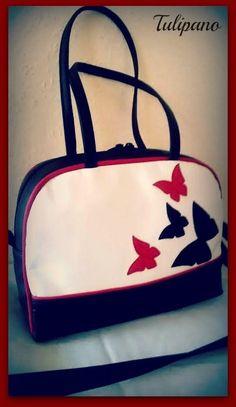 Kis kézitáska pillangóval piros-fekete-fekete Lunch Box, Bento Box