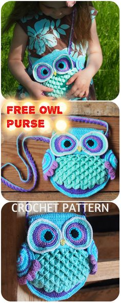 """toys for girls Owl Purse """"Blue Dreams"""" Free crochet pattern. Crochet Gifts, Crochet Toys, Free Crochet, Knit Crochet, Crochet Handbags, Crochet Purses, Owl Purse, Knitting Patterns, Crochet Patterns"""
