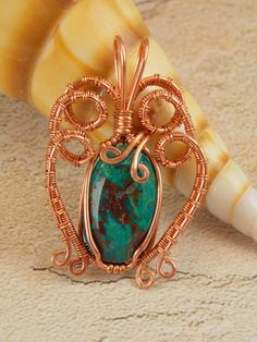 Chyrsocolla Malachite Copper Wire Wrapped Pendant   Flickr - Photo Sharing!