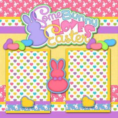 SOMEBUNNY LOVES EASTER ~ 2 premade scrapbook pages paper piecing layout ~ CHERRY