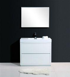 Tona Narrow Gloss White Modern Bathroom Vanity White