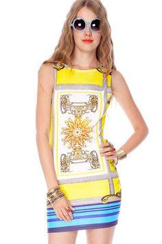 Kayla Print Ponti Dress in Yellow Multi $38 at www.tobi.com