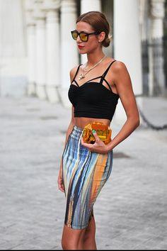 Pencil skirt crop top fashion