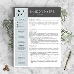 Modern Resume Template for Word and Pages 1 par LandedDesignStudio