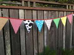 Party Bunting Flags Farm theme cow print, gingham, burlap, daisies, clouds grass green dots