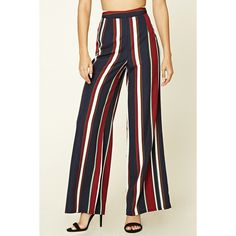 Forever21 Striped Palazzo Pants (31 CAD) ❤ liked on Polyvore featuring pants, straight leg trousers, vertical stripe pants, woven pants, striped pants and forever 21