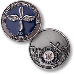 NEW U.S. Navy Aviation Machinist's Mate Enamel Challenge Coin. 60122.