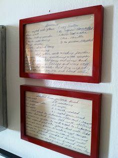 Old recipes framed for the kitchen