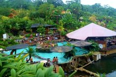 Los Lagos, La Fortuna, Costa Rica Home of the Arenal Volcano, this cottage like hotel has over 10 hot springs with three water slides.