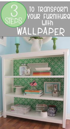 Use wallpaper on your furniture to add a pop of color and design!  Learn how on my blog!