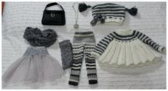 Created using my own designs. . All my creations are made with love. This set includes the following elements : 1. The hand knitted dress.The dress close on the back for two buttons. 2. The hand knitted matching dress hat. 3. The gray under dress tulle skirt.  4. The gray and white leggings is sewn of knit sweater fabric.  5. The gray lace knit fabric socks.  6. The loop style scarf is sewn of gray knit lace fabric. 7. The Necklace with star pendant.  8. The cute purse.  The outfit will also…