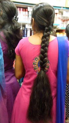 Indian Long hair girls added a new photo. Long Silky Hair, Long Black Hair, Super Long Hair, Thick Hair, Slick Hairstyles, Girl Hairstyles, Braided Hairstyles, Beautiful Braids, Beautiful Long Hair