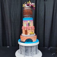 """Romantic Night in Italy"" themed wedding cake for the RootsTech competition  I did not place as a semifinalist but still appreciated the challenge creative freedom and meeting so many talented Cake Artists! And bonus I got my picture taken with Buddy AKA The Cake Boss  #pin"