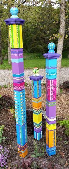 Single Large Garden Totem Garden Sculpture Colorful by LisaFrick