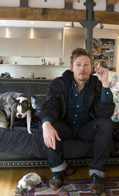 Oh my god, Norman Reedus and a Boston Terrier.... Goodbye ovaries