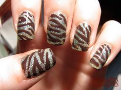 brown zebra over metallic nails Great Nails, Fabulous Nails, Love Nails, How To Do Nails, My Nails, Uñas Fashion, Crackle Nails, Zebra Nails, Daily Nail