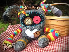 Monkey Love Sock Creature by rawrcreatures on Etsy, $40.00