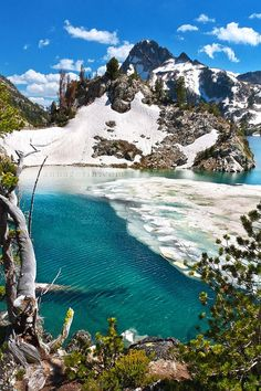Icy waters at Sawtooth Lake, Idaho, United States