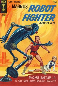 """scificovers:   Magnus, Robot Fighter #28, November 1969. """"Panic in Pacifica"""" Art by Paul Norris, Mike Royer, and Russ Manning according to The Grand Comics Database. Robot 1A, the robot that raised and trained Magnus, turns against him after being irradiated by a meteorite! How can Magnus fight his robot father? This was the last original issue of original run of Magnus, Robot Fighter. It continued as quarterly reprints for another 18 issues and was later revived by Valiant and Acclaim…"""