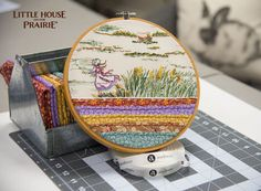 Little House on the Prairie hoop project using the Little House on the Prairie fabric collection. This would be perfect as a beautiful wall decoration for the home!