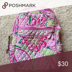 Pink and Green Vera Bradley Small Backpack Used but good condition! Vera Bradley Bags Backpacks