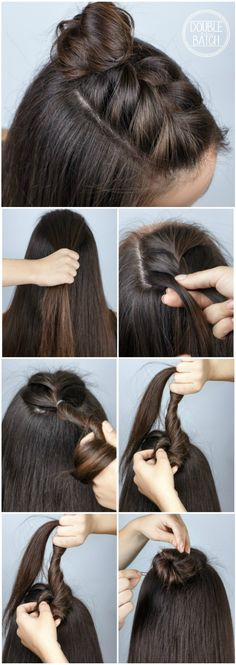 Trend Watch – Mohawk braid into top knot half-up hairstyles ❤️ Tutorial ❤️ Mohawk Braid in Top Knot Half-Updo für mittlere bis lange Haare The post Trend Watch & Mohawk-Zopf in Haarfrisuren mit hohem Knoten & Hair appeared first on Medium length hair . Quick Braids, Short Hair Braids Easy, Short Hair Braids Tutorial, Short Hair Braid Styles, Diy Braids, Braids Tutorial Easy, French Plait Tutorial, Simple Braids, Easy Curls