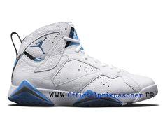 wholesale dealer 9d150 3e7fc Air Jordan 7 Retro Chaussures Basketball Bon marché Pour Homme Blanc   gris    bleu 304775