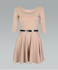 b1fac9d622 Buy Length Sleeve Belted Stone Skater Dress by Krisp BASICS from Krisp  Clothing -   Krisp Clothing