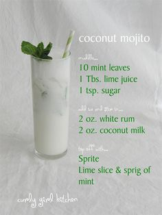 Feels Like Spring. Coconut Mojito: had one at one place in Hawaii and have yet to find them anywhere else.Coconut Mojito: had one at one place in Hawaii and have yet to find them anywhere else. Party Drinks, Cocktail Drinks, Liquor Drinks, Bourbon Drinks, Watermelon Cocktail, White Cocktails, Refreshing Cocktails, Craft Cocktails, Bebida Mojito