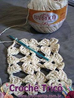 Crochê Tricô: Ponto Fantasia Florzinhas em Crochê