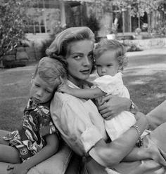 Lauren Bacall with her and Humphrey Bogart's children, 1945.
