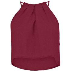 Boohoo Lacey High Neck Swing Crop Top (21 CAD) ❤ liked on Polyvore featuring tops, shirts, crop top, tank tops, red crop top, red shirt, red crop shirt and henley tops