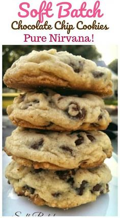 """Delectable insane buttery rich thick soft-batch chocolate chip cookies are pure """"Nirvana"""". You won't want to miss out on these! Homemade Chocolate Chips, Easy Chocolate Chip Cookies, Chocolate Cookie Recipes, Best Cookie Recipes, Baking Recipes, Chocolate Chocolate, Brownie Recipes, Vanilla Pudding Cookies, Fudge Cookies"""