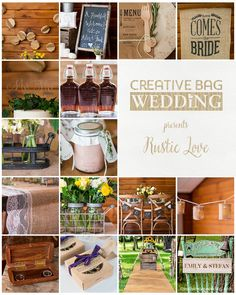 wedding trends inspiration - part one Chalkboard Stand, Small Glass Bottles, Glass Flask, Personalized Wood Signs, Mini Mason Jars, Creative Bag, Burlap Table Runners, Diy Banner, Wedding Show