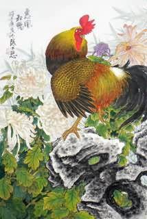 Trung Quốc Gà Tranh, 69cm x 46cm, 4.721.017-x