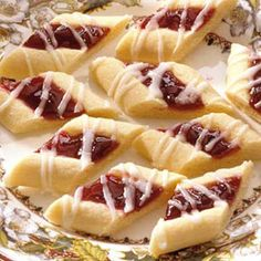 Fanciful Raspberry Ribbons. Mom made these every christmas, only she called them swedish butter cookies. so good. <3