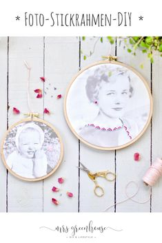 DIY photo embroidery hoop embroidered on Mrsgreenhouse.de : DIY photo embroidery hoop homemade for Mother& Day. How to present your favorite photos with fine embroidery in an embroidery hoop. embroidered photo tutorial on Mrsgreenhouse. Beginner Knitting Projects, Knitting For Beginners, Vintage Embroidery, Embroidery Patterns, Embroidery Hoops, Free Crochet, Crochet Pattern, Diy Foto, Embroidery Techniques